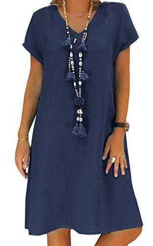Yidarton Sommerkleid Leinen Kleider Damen V-Ausschnitt Strandkleider Einfarbig A-Linie Kleid Boho Knielang Kleid Ohne Zubehör(Dunkelblau,3XL) (Leinen Damen-kleider 100)