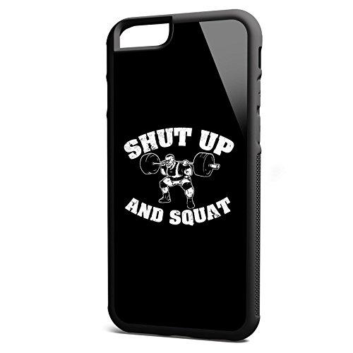 Smartcover Case Shut up an Squat z.B. für Iphone 5 / 5S, Iphone 6 / 6S, Samsung S6 und S6 EDGE mit griffigem Gummirand und coolem Print, Smartphone Hülle:Iphone 6 / 6S schwarz Iphone 6 / 6S schwarz