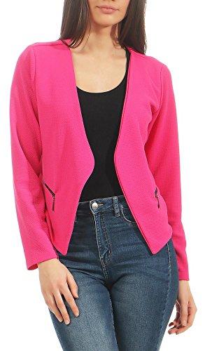 Malito Damen Blazer ohne Kragen | Sakko im Basic Look | Kurzjacke mit Zipper | Jacke - Jackett - Blouson 6040 (pink, M) Basic-zipper