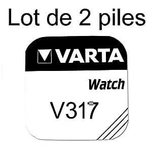 Pile de montre bouton varta 317 SR62SW 1.55v lot 2 piles - Varta, 317, SR62