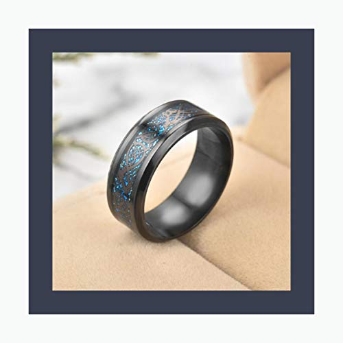 AXstore Schmuck Ring 11 Colors Blue Black Silvering Irish Dragon Titanium Carbide Ring 8Mm Wedding Bands Couple Anniversary Jewelry G0170 Black Blue 6
