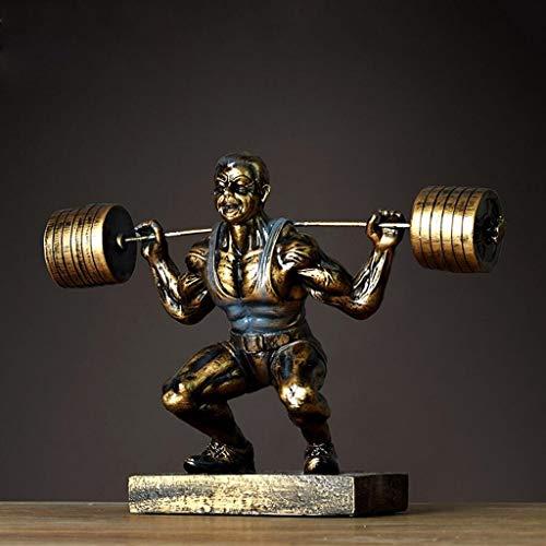 ACZZ Kreative Retro Harz Skulptur Handwerk Ornamente Gewichtheben Athleten Mr. Wohnzimmer Fernsehschrank Büro Dekorationen