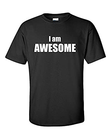 Lag3 Funny I am awesome 205gsm T-Shirt Black Small