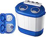 Mini Waschmaschine mit Schleuder | 2 Kammern | Waschautomat bis 3 KG | Schleuderkammer bis 1 Kg | Reisewaschmaschine | Miniwaschmaschine | Camping Mobile Waschmaschine | Toploader | (2 Kammern)