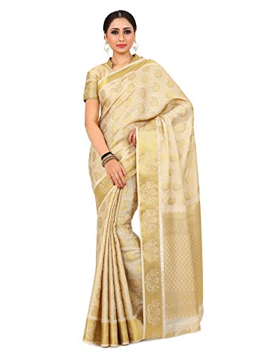 Mimosa By Kupinda Women\'s Art Silk saree Kanjivaram Style Color : Off white (4167-256-SD-OFFWHT)