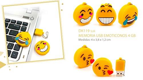 Memoria USB Emoticonos Emojis 4 GB (Cadena no incluida) - Memorias USB Pendrive Originales Divertidos Infantiles, con formas y Baratos. Regalos, Detalles y recuerdos bodas, bautizos y Comuniones. Fiestas de Cumpleaños