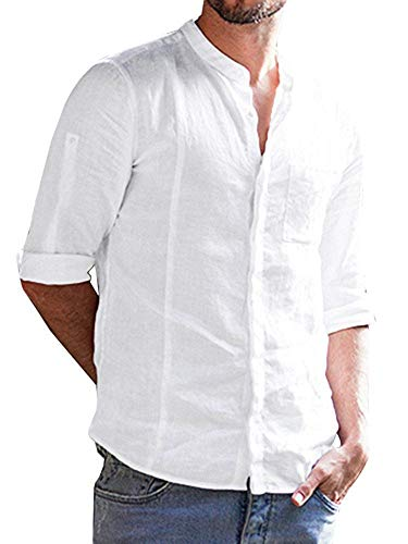 Lueyifs Herren Leinen Freizeithemd Langarm Männer Sommer Hemd Casual Regular Fit Shirt