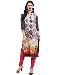 Ziyaa Women's Multi Color Straight Digital Print Kurta (ZIKUCR2326)