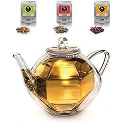 """Creano Teekanne """"Diamond-design"""" 800ml, doppelwandige Glas-Teekanne Spiralsieb und Thermo Effekt + 3x Früchte, Kräuter-Tee je 60g (Erbeer-Minze, Exotische Früchte, Sanfte Limette)"""