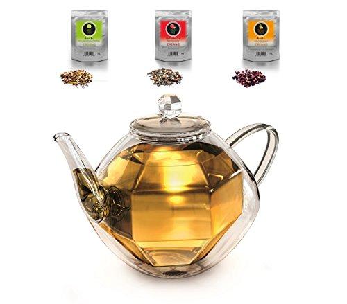 Creano Diamond-Design 800ml, doppelwandige Glas-Teekanne Spiralsieb und Thermo Effekt + 3X, Kräuter-Tee je 60g (Erbeer-Minze, Exotische Früchte, Sanfte Limette), 1x