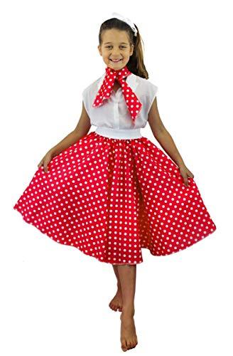 Luxuriöses Kinder-Kostüm-Set Rock-'n'-Roll-Rock–gepunkteter 50er-Jahre-Rock mit Halstuch, buntes Rock-'n'-Roll-/Swing-Outfit für Kinder–erhältlich in 2Ausführungen und 10Farben