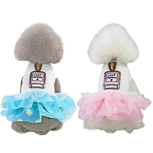 Gamloious Pet Frühling Sommer mit kurzen Ärmeln Rock, Kleine & mittlere Hunde Nettes Kostüm-Kleid-Einfach Top mit lustiger Flasche Muster, Blase Short Gelb (Einfach Kostüme Lustige)