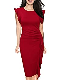 Donna Elegante Vestito al Ginocchio di Colore Solido Vestiti con Volant  Abito a Tubino Vestitino da Cerimonia Partito… aad415a6ee4