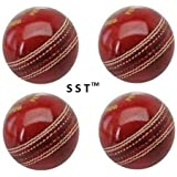 SST Leather Cricket Ball Red 4 Piece Ball Set Of 4 Leather Balls For Test Matchs One-Day Matchs And Practice High Quality