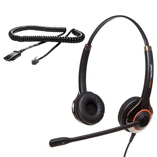 Agent 850 Professionelles Doppelohr-Geräuschunterdrückungsbüro/Call Center-Headset (U10P-Kabel enthalten) Funktioniert mit Polycom VVX-, IP- und CX-Telefonen, Gigaset, Alcatel-Lucent, NEC + mehr Alcatel-telefone