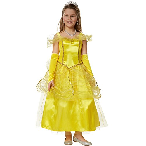 dressforfun 900349 Girls' Princess Belle Costume, Lovely silk-look Princess dress with Tulle and Organza