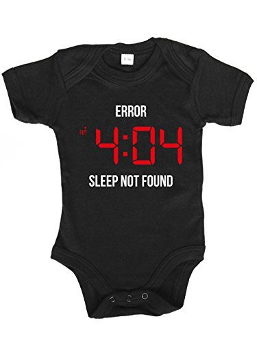clothinx Baby Body Unisex Error 404 Sleep Not Found Schwarz Gr. 80-86 -