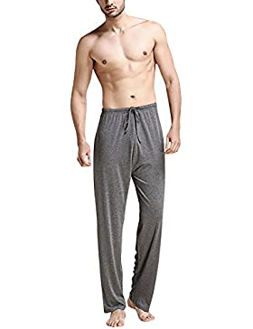 Dolamen Hombre Pantalones de pijama Fibra de carbón de bambú, Parejas Pantalones Boxeador largo Casual Ropa de...