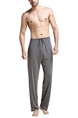 Dolamen Hombre Pantalones de pijama Fibra de carbón de bambú, Parejas Pantalones Boxeador largo Casual Ropa de dormir Cintura elástica bolsillos Tiempo libre Yoga Deportes (Large, Deep Gray)