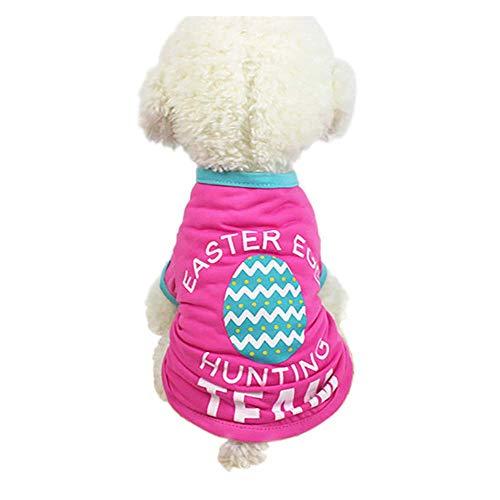 Hund T-Shirt,Ostern Hund Kleidung Polyester T-Shirt Welpen Kostüm für kleine Hund Kleidung Kleidung,Pet Kleidung für Mädchen Jungen,für Kleine Hunde,Welpen,Schnauzer,Teddy,Pudel,Chihuahua (Pink, - Junge Hunde Kostüm