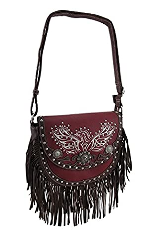 Fringed Saddle Bag w/Embroidered Eagle and Conchos Studded Cross Body Purse