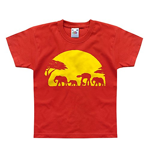 Nutees Unforgettable Walk Under African Sunset Elephant Funny Unisex Kids T Shirts - Red 1/2 Years