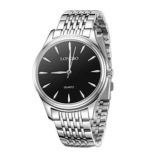 Herren Uhren, Edelstahl Analog Uhr für Männer, Paar Kleid Business Armbanduhren Mode und wasserdicht Casual Paar Uhren (Herren)