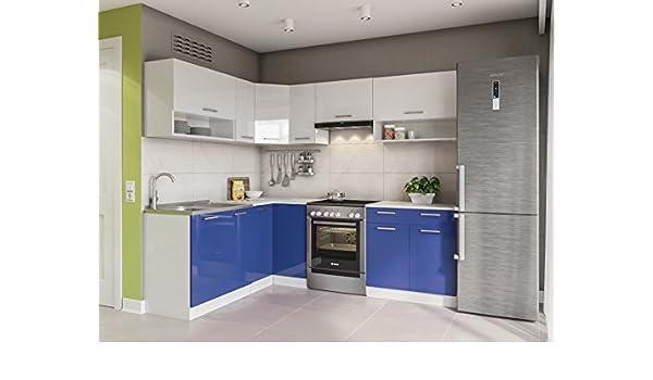 Eldorado möbel küche lux 230 cm blau l form küchenzeile eck küchenblock amazon de küche haushalt