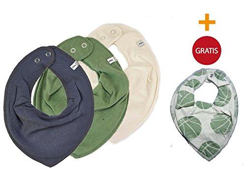 Produktbild SUPER KOMBI-SET * PIPPI 3er Set Baby Kinder HALSTUCH 3 Stück grau / creme / olivgrün + 1 Bestseller Halstuch GRATIS Bälle auf creme
