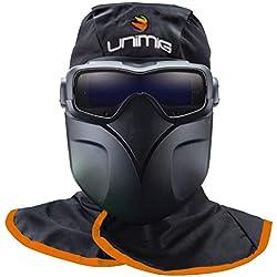 Masque de soudeur UNIMIG Lunettes LCD 3 Capteurs Protection 5/13 + Hotte ignifugée + masque détachable KIT COMPLET PROFESSIONNEL