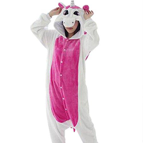 Wenyujh Damen Herren Tier Schlafanzug Jumpsuit Cartoon Einhorn Korallen Pyjamas Fasching Halloween Kostüm Overall Unisex für Partner