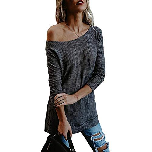 iHENGH Vorweihnachtliche Karnevalsaktion Damen Herbst Winter Bequem Lässig Mode Frauen Herbst Winter Langarm Solide Strickpullover T-Shirt Bluse Tops