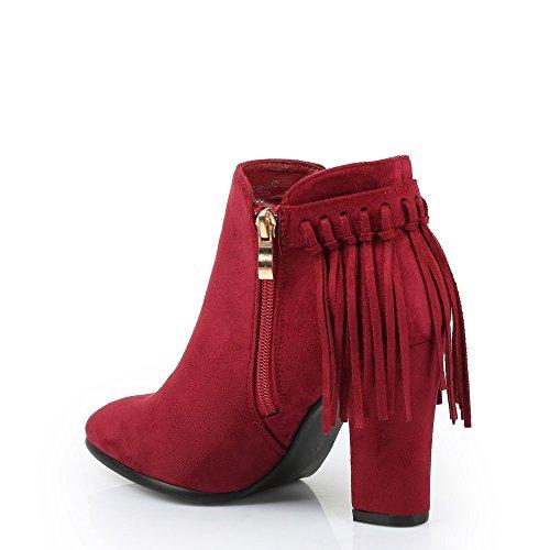 Ideal Shoes–Scarponcini effetto camoscio con frange Eleana Rosso