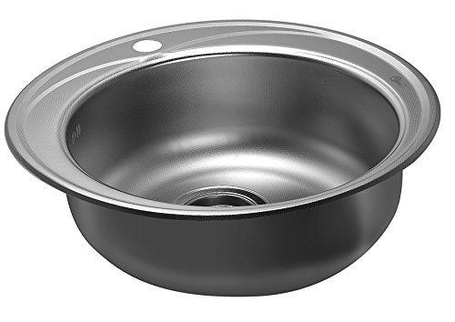 Küchenspüle Rundspüle Waschbecken aus Edelstahl Einbauspüle Spüle + Zub. Spülbecken Rund Spüle