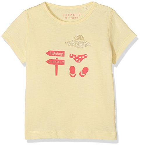 ESPRIT Baby - Mädchen T-Shirt TEE - SHIRT RJ10171, Einfarbig, Gr. 74, Gelb (pale Yellow 722) (Glitzer-baby-tee Mädchen)