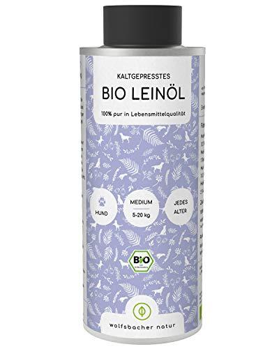 Wolfsbacher Natur - Bio Leinöl für Tiere [250 ml] Kaltgepresst aus dem Allgäu, Natürliche Haut- und Fellpflege für Hunde, Katzen und Pferde, Aus kontrolliert biologischem Anbau, DE-ÖKO-60