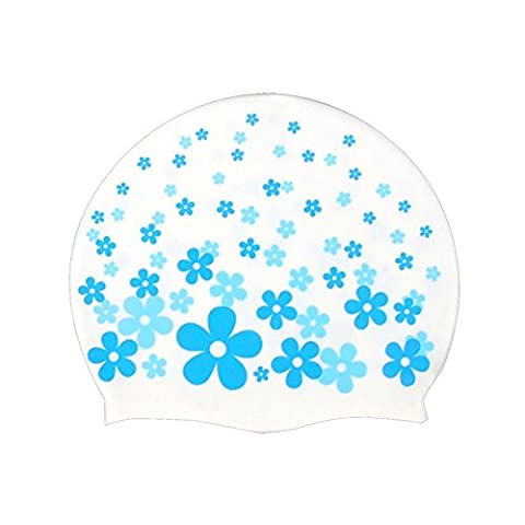 Neeiors Cute enfants souple étanche en silicone Bonnet de bain d'été piscine Spa Bonnet de bain Cheveux oreille Coque Bain Chapeau, motif floral bleu