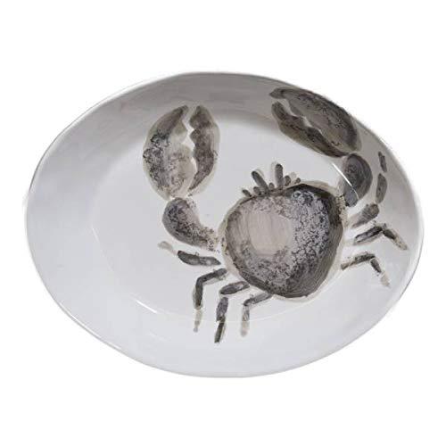 Virginia Casa Pastateller Marina GRANCHIO Krabbe oval 20x26cm weiß grau Keramik
