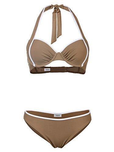 Heine Bügel Bikini Softcup Schalen Neckholder (44 C, dkl.traupe/weiss) (Braunes Neckholder-badeanzug)