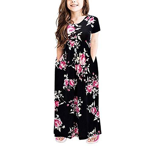 FRAUIT Kleid Mädchen Blumen Taschenkleider Kinder Kinder Party Beachwear Kleider Kurzarm Floral Flower Princess Tasche Dress -