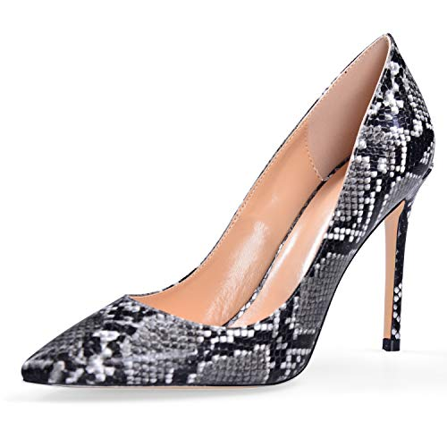 elashe Klassische Damen Pumps | 4 IN Damen High Heels | Stiletto Schuhe | Damen Geschlossene Pumps Python-Grau EU37 Python Stiletto Pumps
