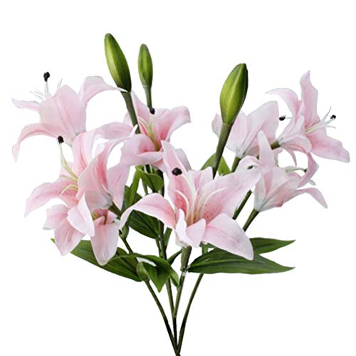 arfüm Lily Flowers Kunstblumen für Hochzeit Home Desk Dekorationen (Light Pink) ()