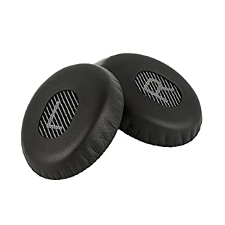 New AHG Replacement ear pads cushions for Bose Quiet Comfort 3 (QC3) and Bose On-Ear (OE) headphones with grey/black scrims and L and R Lettering (QC3/OE, Grey/Black LR)