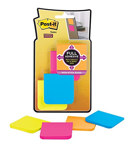 Post-it Super Sticky Full Adhesive Notes - Taco de notas adhesivas (8 unidades, 25 notas, 50,8 x 50,8 mm), diseño de esquinas redondeadas, multicolor