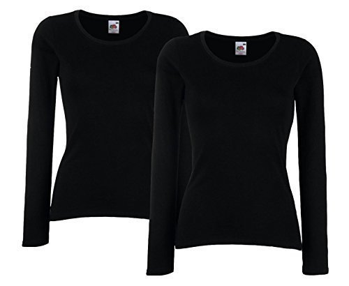 Fruit of The Loom Lady-Fit Valueweight T LSL Damen Sweatshirt Langarm Shirt Doppelpack (M, Schwarz)
