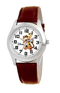 Disney Men's Tigger Silver Perth Brown Leather Strap Watch #0803C005D144S004