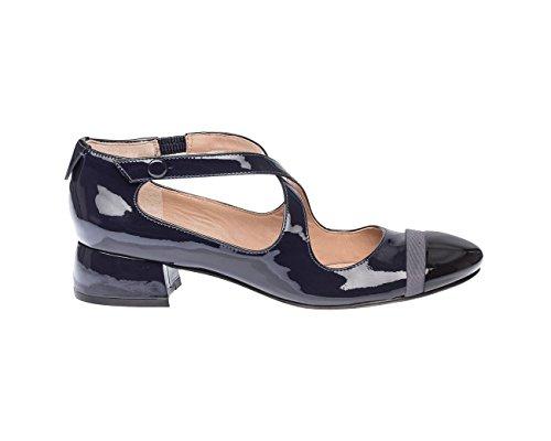 Schuhe mit Niedrigem Schloss,Blau Grau Beschichtet, Damen, Taglia 6.