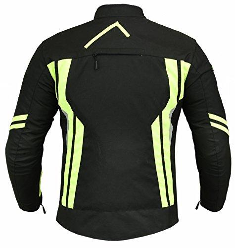 RIDEX Hochsichtbare wasserdichte Motorrad Jacke Herren Schutz Größe L Schwarz/Gelb - schwarz / gelb - 2