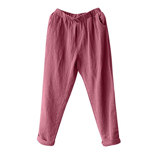 WWricotta Plus Size Women Linen Harem Pants Baggy Loose Trousers Casual Lady (Weinrot,M)