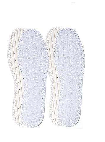 Deux paires de semelles intérieures en tissu éponge HappyStepMD lavables et réutilisables pour port sans chaussettes – Portez vos chaussures sans chaussettes grâce aux semelles intérieures en tissu éponge HappyStep! (Women Size EU 37)